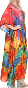 group-Pink / Blue (Sakkas Georgettina Flowy Rhinestone V Neck Long Caftan Dress/Cover Up)