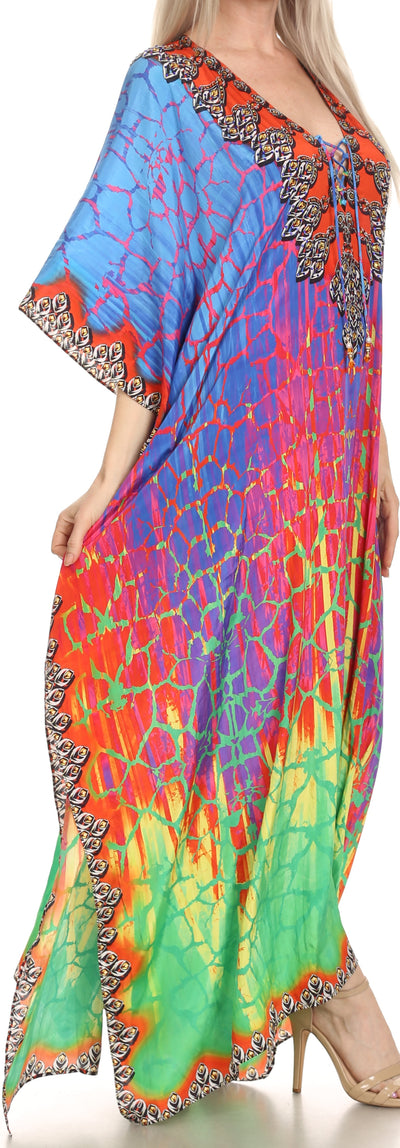group-Green / Blue (Sakkas Georgettina Flowy Rhinestone V Neck Long Caftan Dress/Cover Up)
