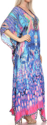 group-Turquosie / Pink (Sakkas Georgettina Flowy Rhinestone V Neck Long Caftan Dress/Cover Up)