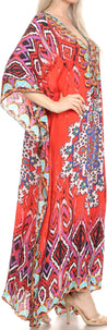 group-Red / Blue (Sakkas Georgettina Flowy Rhinestone V Neck Long Caftan Dress/Cover Up)