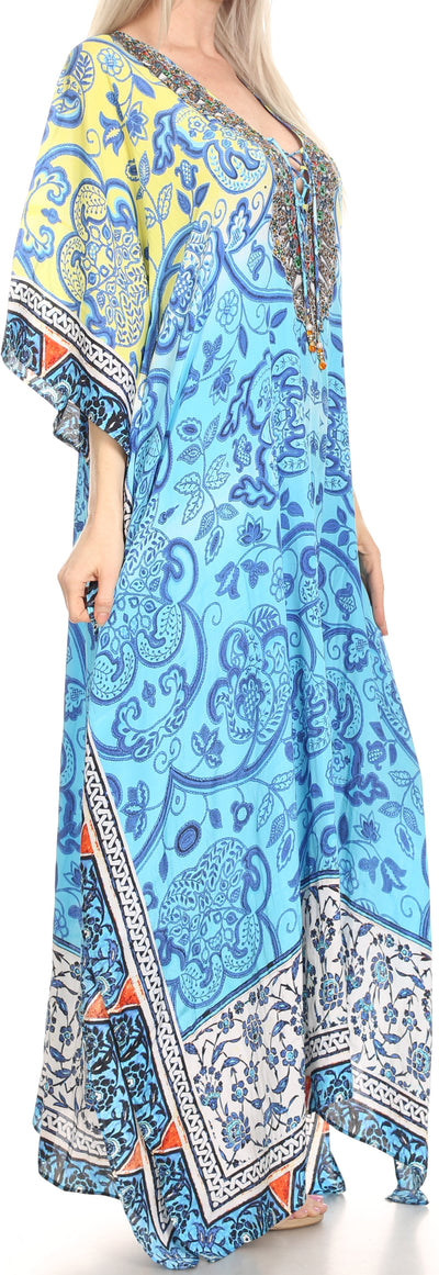 group-Yellow / Blue (Sakkas Georgettina Flowy Rhinestone V Neck Long Caftan Dress/Cover Up)