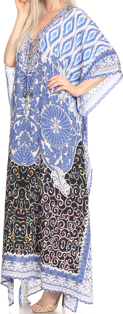 group-Black / White / Blue (Sakkas Georgettina Flowy Rhinestone V Neck Long Caftan Dress/Cover Up)