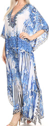 group-Blue / White (Sakkas Georgettina Flowy Rhinestone V Neck Long Caftan Dress/Cover Up)