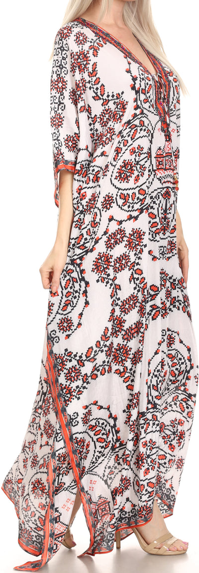 group-White / Red (Sakkas Georgettina Flowy Rhinestone V Neck Long Caftan Dress/Cover Up)