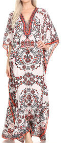 Sakkas  Georgettina Flowy  Rhinestone V Neck Long Caftan Dress / Cover Up#color_White / Red
