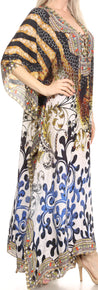 group-Black / Brown (Sakkas Georgettina Flowy Rhinestone V Neck Long Caftan Dress/Cover Up)