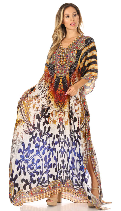 group-Black / Brown (Sakkas  Georgettina Flowy  Rhinestone V Neck Long Caftan Dress / Cover Up)