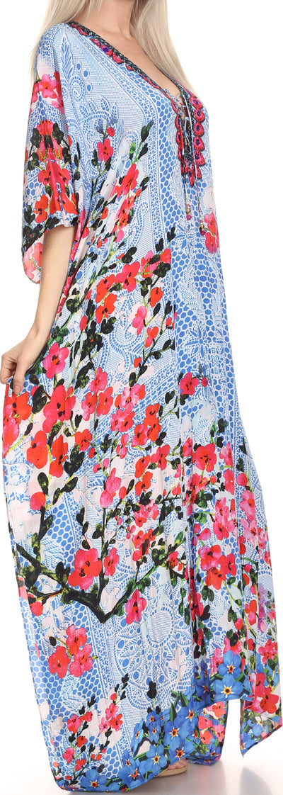 group-Blue / Red / Black (Sakkas Georgettina Flowy Rhinestone V Neck Long Caftan Dress/Cover Up)