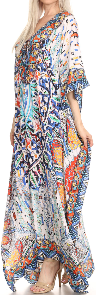 group-Blue / Orange / Navy (Sakkas Georgettina Flowy Rhinestone V Neck Long Caftan Dress/Cover Up)