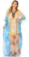 group-White / Turquoise (Sakkas Georgettina Flowy Rhinestone V Neck Long Caftan Dress/Cover Up)
