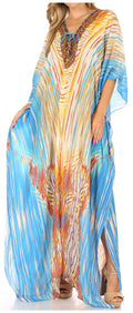 Sakkas  Georgettina Flowy  Rhinestone V Neck Long Caftan Dress / Cover Up#color_White / Turquoise