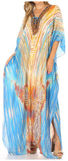 group-White / Turquoise (Sakkas  Georgettina Flowy  Rhinestone V Neck Long Caftan Dress / Cover Up)