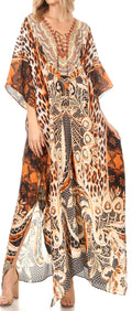 Sakkas  Georgettina Flowy  Rhinestone V Neck Long Caftan Dress / Cover Up#color_CTO247-Orange