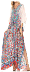 Sakkas  Georgettina Flowy  Rhinestone V Neck Long Caftan Dress / Cover Up#color_FOW210-White