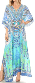 Sakkas  Georgettina Flowy  Rhinestone V Neck Long Caftan Dress / Cover Up#color_GB207-Blue