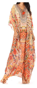 Sakkas  Georgettina Flowy  Rhinestone V Neck Long Caftan Dress / Cover Up#color_ORM322-Multi