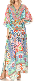 Sakkas  Georgettina Flowy  Rhinestone V Neck Long Caftan Dress / Cover Up#color_TM208-Multi
