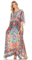 Sakkas  Georgettina Flowy  Rhinestone V Neck Long Caftan Dress / Cover Up