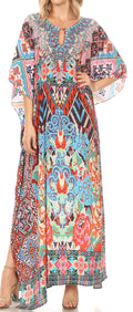 Sakkas  Georgettina Flowy  Rhinestone V Neck Long Caftan Dress / Cover Up#color_UM209-Multi