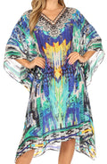 Sakkas MiuMiu Ligthweight Summer Printed Short Caftan Dress / Cover Up#color_Blue Multi