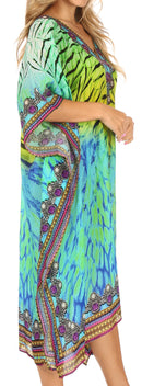 Sakkas MiuMiu Ligthweight Summer Printed Short Caftan Dress / Cover Up