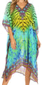 Sakkas MiuMiu Ligthweight Summer Printed Short Caftan Dress / Cover Up#color_Green Multi