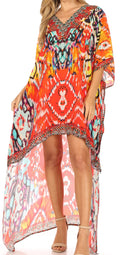 Sakkas Laisson Flowy Hi Low Caftan Rhinestone Boxy V Neck Dress Top Cover / Up#color_Orange / Blue
