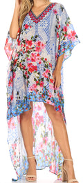 Sakkas Laisson Flowy Hi Low Caftan Rhinestone Boxy V Neck Dress Top Cover / Up#color_Blue / Red