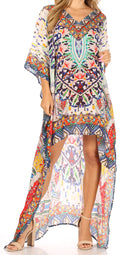 Sakkas Laisson Flowy Hi Low Caftan Rhinestone Boxy V Neck Dress Top Cover / Up#color_Blue / White