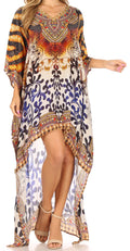 Sakkas Laisson Flowy Hi Low Caftan Rhinestone Boxy V Neck Dress Top Cover / Up#color_Brown / White