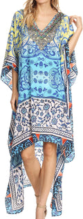 Sakkas Laisson Flowy Hi Low Caftan Rhinestone Boxy V Neck Dress Top Cover / Up#color_Turquoise / Yellow