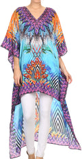 Sakkas Laisson Flowy Hi Low Caftan Rhinestone Boxy V Neck Dress Top Cover / Up#color_Turquoise Purple