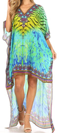 Sakkas Laisson Flowy Hi Low Caftan Rhinestone Boxy V Neck Dress Top Cover / Up#color_Green Yellow