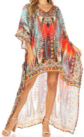 Sakkas Laisson Flowy Hi Low Caftan Rhinestone Boxy V Neck Dress Top Cover / Up#color_AM107-Multi