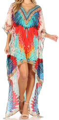 Sakkas Laisson Flowy Hi Low Caftan Rhinestone Boxy V Neck Dress Top Cover / Up#color_FM106-Multi