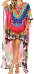 Sakkas Laisson Flowy Hi Low Caftan Rhinestone Boxy V Neck Dress Top Cover / Up#color_FM108-Multi