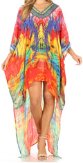 Sakkas Laisson Flowy Hi Low Caftan Rhinestone Boxy V Neck Dress Top Cover / Up#color_FM92-Multi