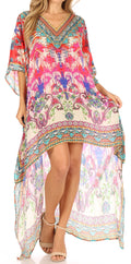 Sakkas Laisson Flowy Hi Low Caftan Rhinestone Boxy V Neck Dress Top Cover / Up#color_IM101-Multi