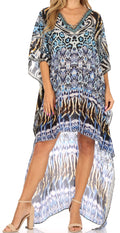 Sakkas Laisson Flowy Hi Low Caftan Rhinestone Boxy V Neck Dress Top Cover / Up#color_IT44-Turq