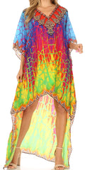 Sakkas Laisson Flowy Hi Low Caftan Rhinestone Boxy V Neck Dress Top Cover / Up#color_JFM91-Multi