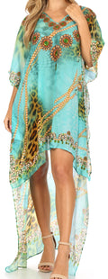 Sakkas Laisson Flowy Hi Low Caftan Rhinestone Boxy V Neck Dress Top Cover / Up#color_JT86-Turq