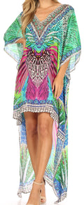 Sakkas Laisson Flowy Hi Low Caftan Rhinestone Boxy V Neck Dress Top Cover / Up#color_LT45-Turq