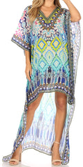 Sakkas Laisson Flowy Hi Low Caftan Rhinestone Boxy V Neck Dress Top Cover / Up#color_MT54-Turq