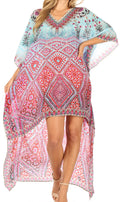 Sakkas Laisson Flowy Hi Low Caftan Rhinestone Boxy V Neck Dress Top Cover / Up#color_MT84-Turq