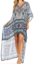 Sakkas Laisson Flowy Hi Low Caftan Rhinestone Boxy V Neck Dress Top Cover / Up#color_MW28-White
