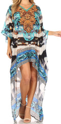 Sakkas Laisson Flowy Hi Low Caftan Rhinestone Boxy V Neck Dress Top Cover / Up#color_ORT38-Turq