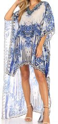 Sakkas Laisson Flowy Hi Low Caftan Rhinestone Boxy V Neck Dress Top Cover / Up#color_SB51-Turq