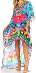 Sakkas Laisson Flowy Hi Low Caftan Rhinestone Boxy V Neck Dress Top Cover / Up#color_SB57-Blue