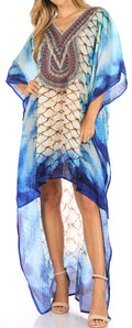 Sakkas Laisson Flowy Hi Low Caftan Rhinestone Boxy V Neck Dress Top Cover / Up#color_SCB60-Blue