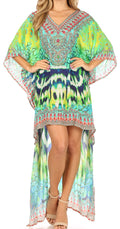 Sakkas Laisson Flowy Hi Low Caftan Rhinestone Boxy V Neck Dress Top Cover / Up#color_SCT52-Turq